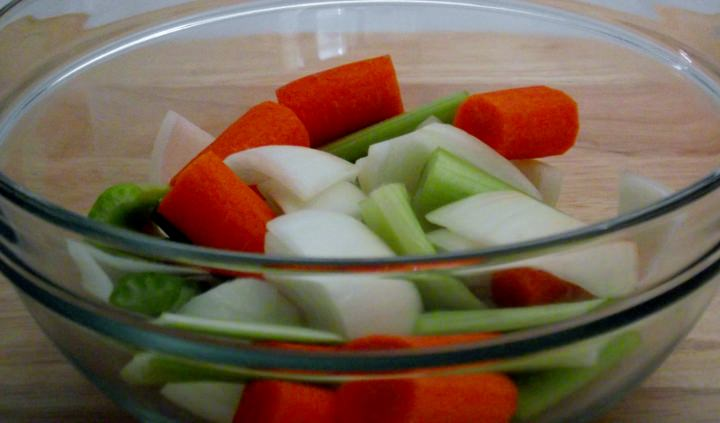 Mirepoix - celery carrot and onion