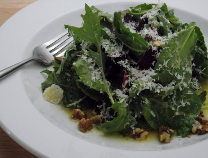 Mix Greens with Lemon Cumin Vinaigrette and Shaved Parmigiano