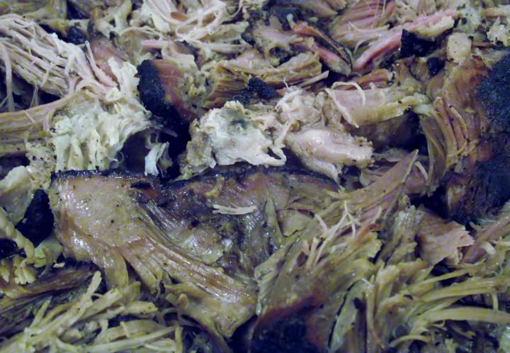 Slow smoked pulled pork.