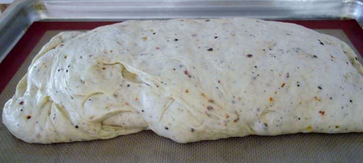 Stromboli loaf ready for the oven.