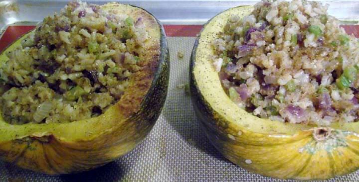 Pumpkin halves stuffed and ready for the oven.