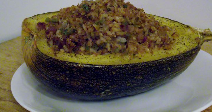 Baked stuffed pumpkin.