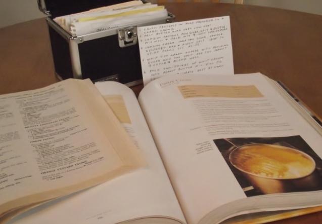 Cookbooks and recipe cards.