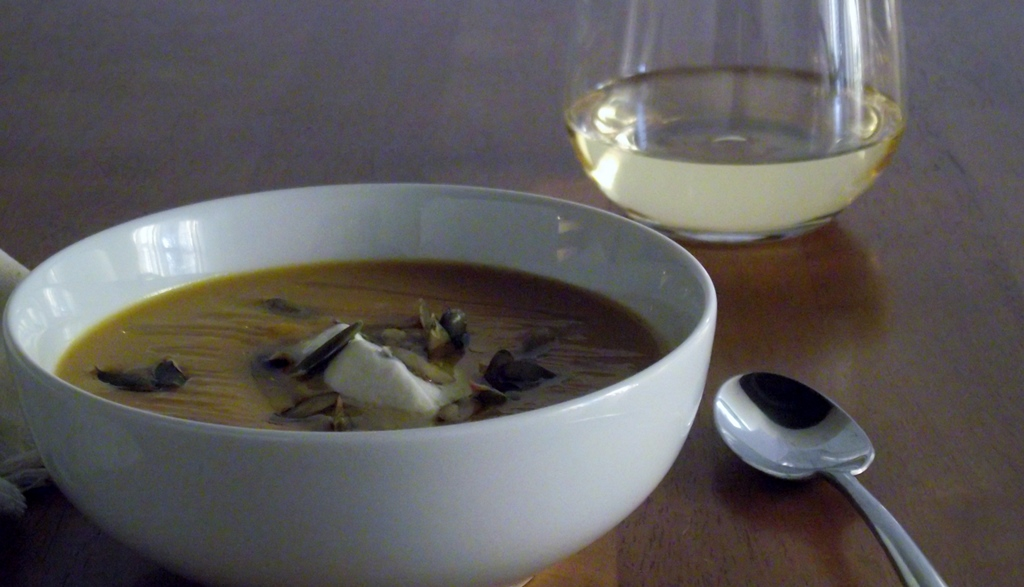 Acorn Squash Soup With Yogurt and Pepitas