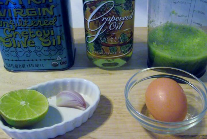 Ingredients for scallion and lime aioli.