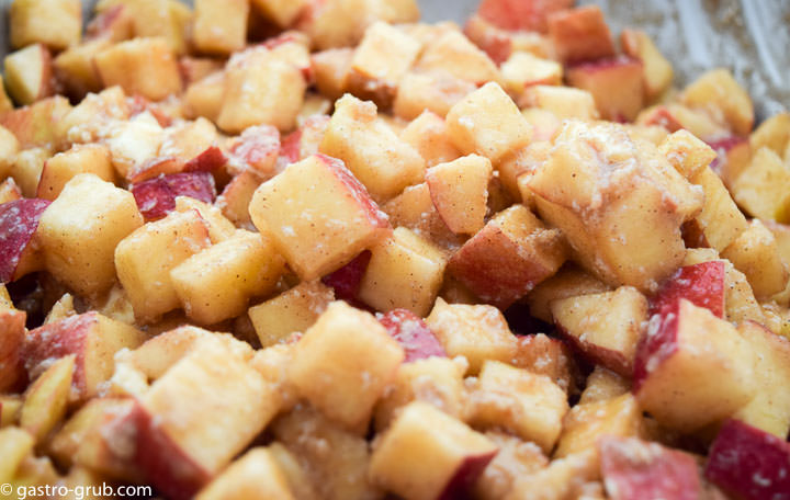 Diced apples tossed with sugar, flour, butter, and spices.