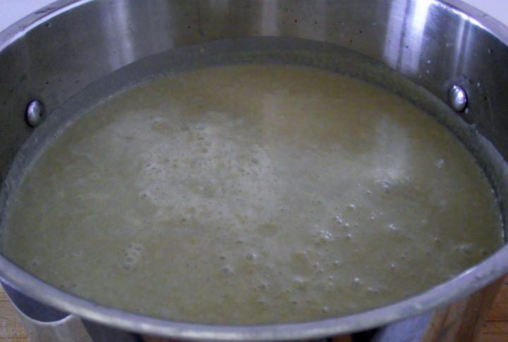 Asparagus soup after straining.