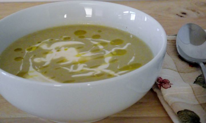 My cream of asparagus soup recipe, with creme fraiche and extra virgin olive oil.