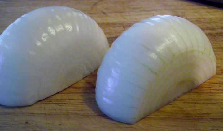Remove the skin and the first layer of the onion.