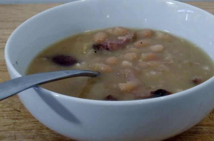 Baked bean soup with smoked ham hocks.