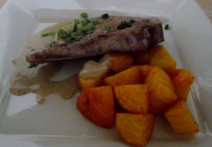 Seared brined pork chops, with a pan veloute, and sauteed golden beets.