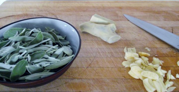 Fresh sage, fresh ginger and garlic.