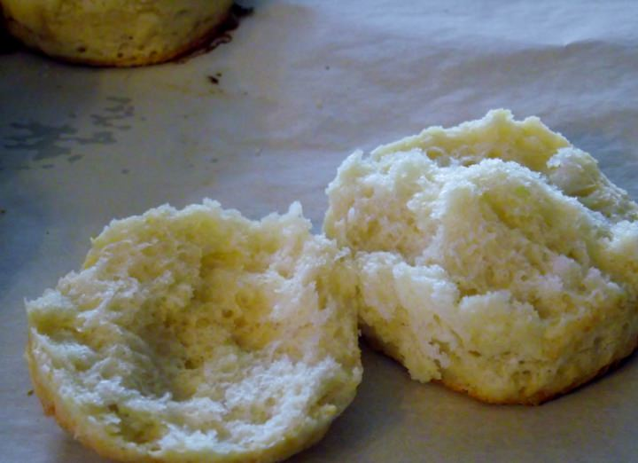 A biscuit broken open to show the texture.