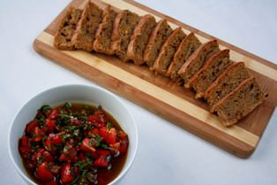 Bruschetta with olive focaccia.