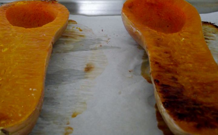 Squash cooling on a sheet pan.