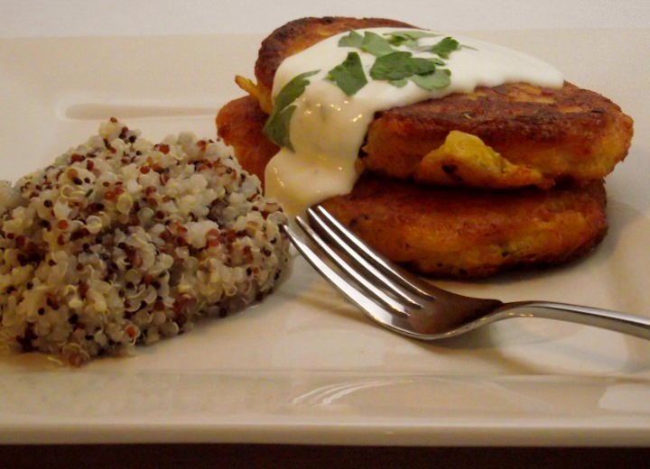 Butternut squash fritters and citrus quinoa