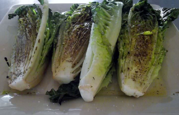 Grilled romaine heads.