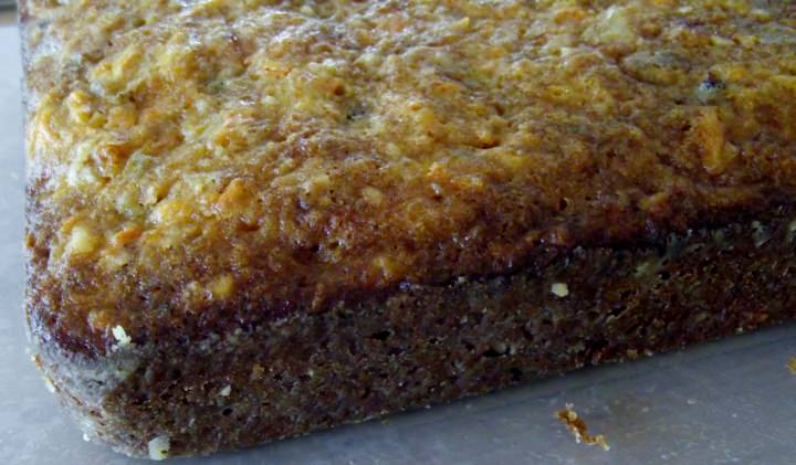 The carrot cake after it is un-panned.