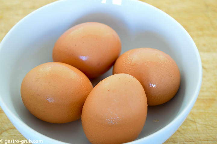 Four eggs in a bowl.