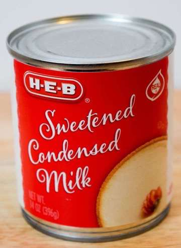 Sweetened condensed milk in the can.