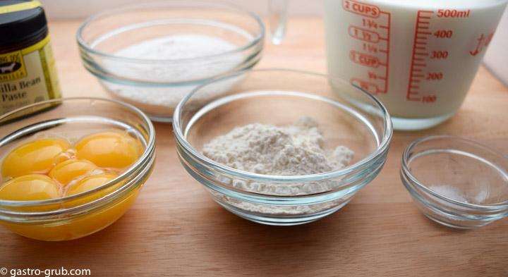 Ingredients for pastry cream: eggs, vanilla paste, sugar,flour milk, and salt.