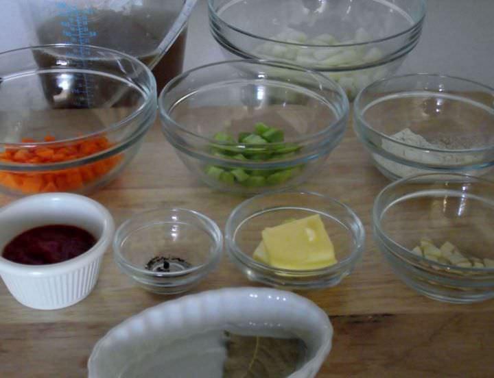 Ingredient prep for espagnole sauce.