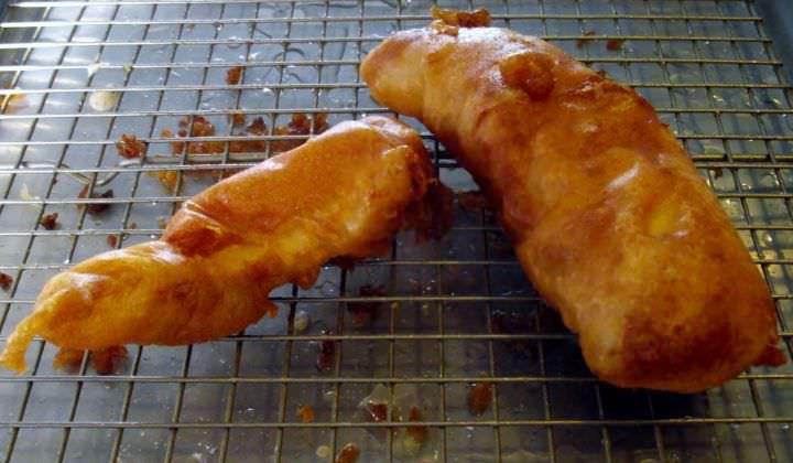 Fried cod filets.
