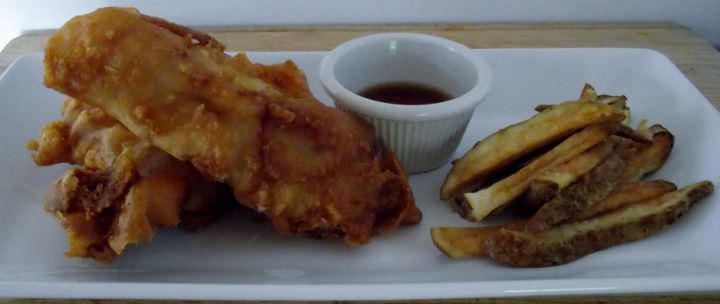 Fish and chips with malt vinegar.