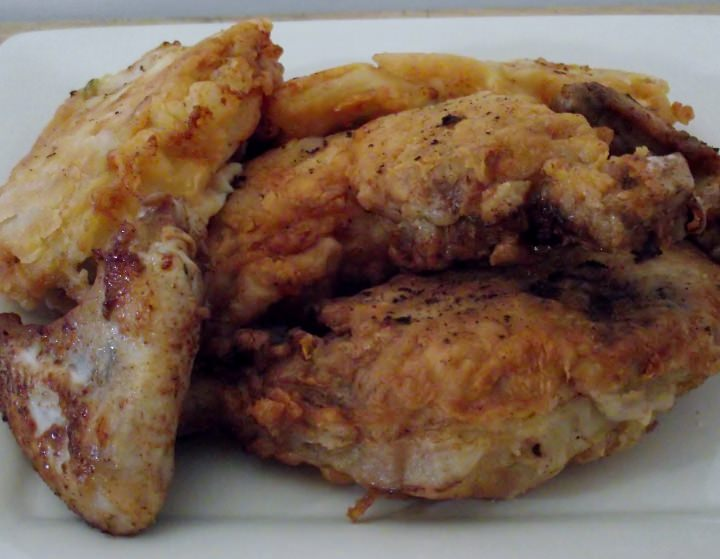 Fried chicken on a plate.