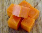 Medium diced heirloom carrots.