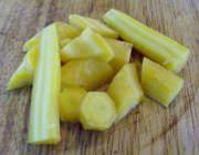 Rough chopped heirloom carrots.