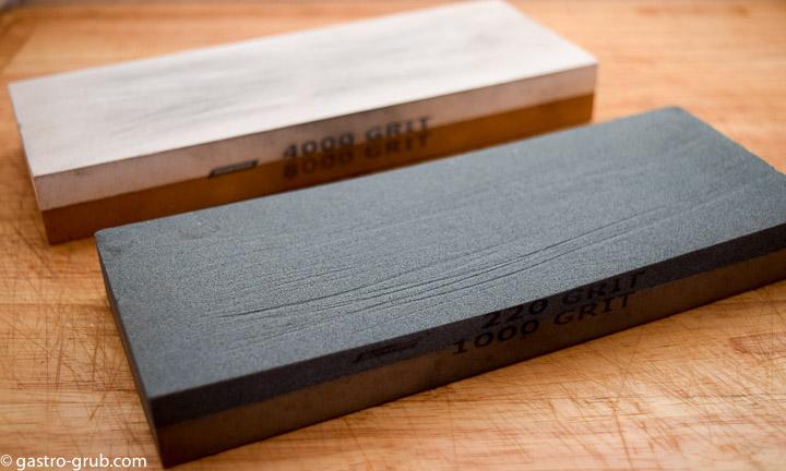 Whetstones on a cutting board.