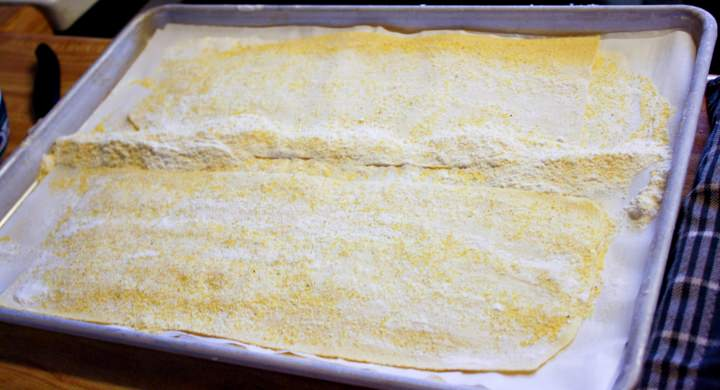 Pasta sheets for lasagna Bolognese.