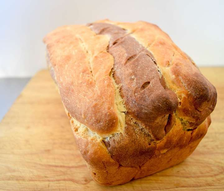 A beautiful loaf of cinnamon cocoa bread.