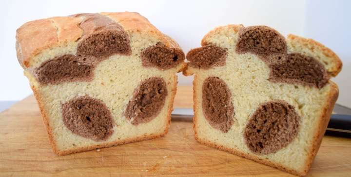 Sweet soft chocolate cinnamon cocoa bread with a leopard print pattern.