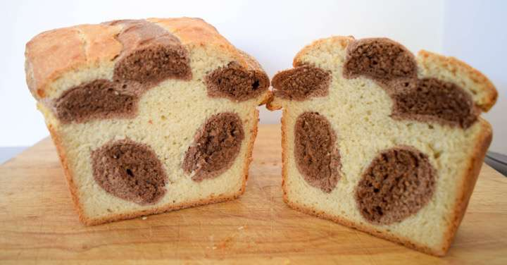 Chocolate cinnamon cocoa bread with a leopard print pattern.