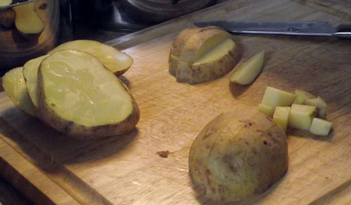 How to cut a potato for mashed potatoes.