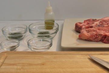 Ingredients being prepped for a recipe.