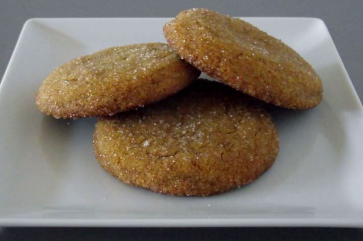 Molasses cookies on a plate.