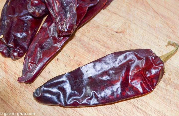 Dried New Mexico chili pods.