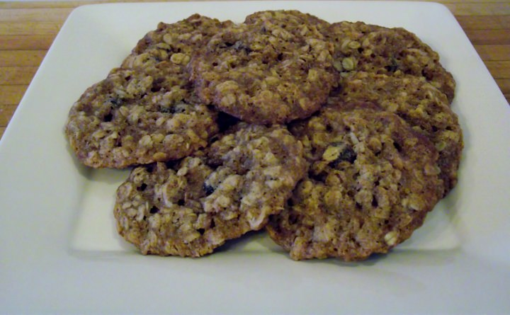 Oatmeal raisin cookies on a plate.