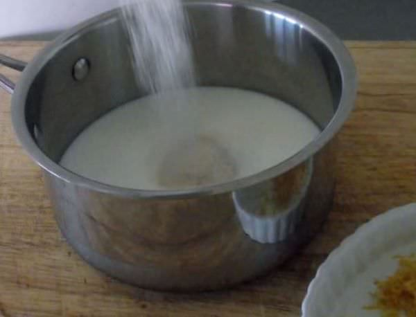 Combine the milk, sugar, and lemon zest.
