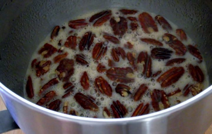 Pecan pie filling in mixer bowl.
