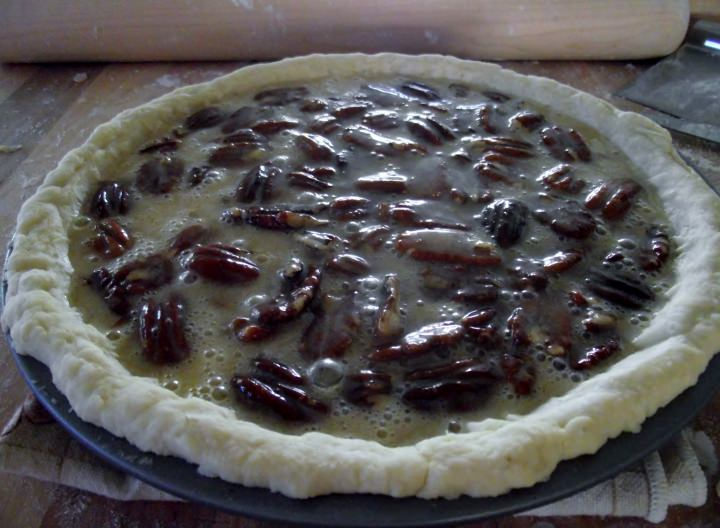 Pecan pie ready for the oven.