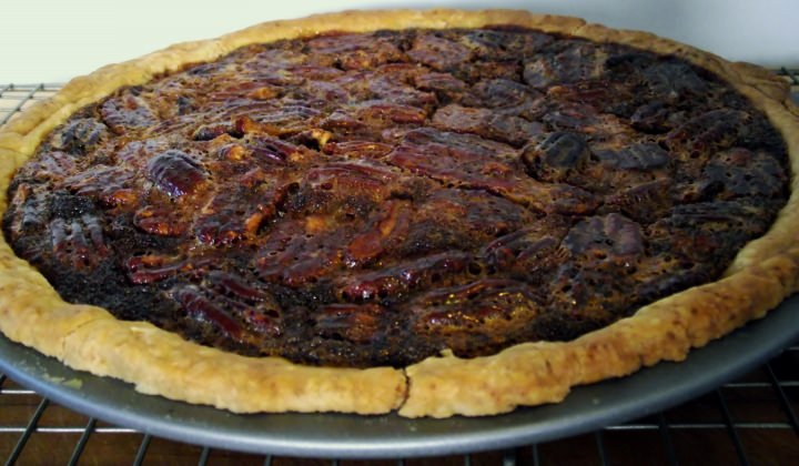 Pecan pie immediately out of the oven.