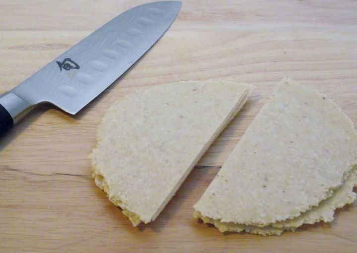 Tortillas cut in half