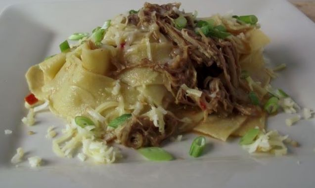 Papperdelle with pulled pork.
