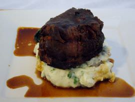 pot roast with parsley mashed potatoes.