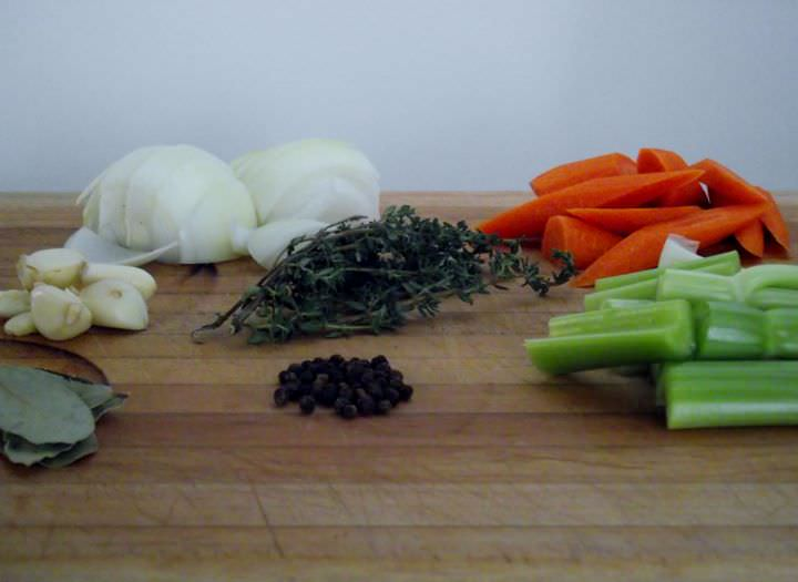 Ingredients for Pot Roast: Garlic, Onion, Celery, Carrots, Bay Leaf, Peppercorn, and Thyme.