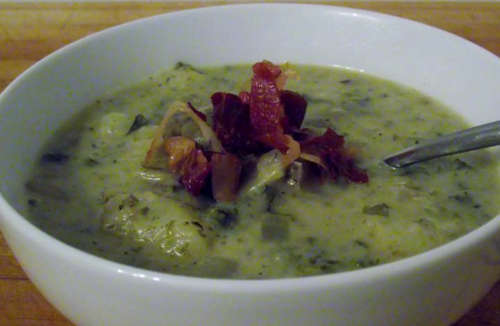 A comfort food dish for Fall: my easy potato soup recipe with leeks, kale, and prosciutto.